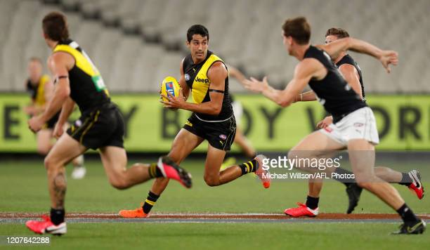 Marlion Pickett of the Tigers in action during the 2020 AFL Round 01 match between the Richmond Tigers and the Carlton Blues at the Melbourne Cricket...
