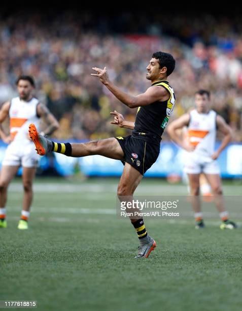 Marlion Pickett of the Tigers kicks his first AFL goal during the 2019 AFL Grand Final match between the Richmond Tigers and the Greater Western...