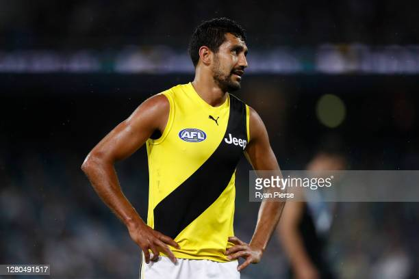 Marlion Pickett of the Tigers looks on during the AFL First Preliminary Final match between the Port Adelaide Power and Richmond Tigers at Adelaide...