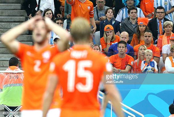 Marloes Buitelaar girlfriend of Stefan De Vrij of Netherlands Candy Rae Fleur girlfriend of Daley Blind two rows below them Bernadien Eillert Robben...