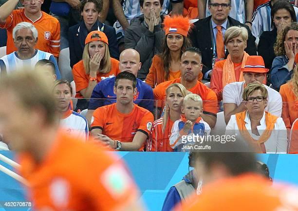 Marloes Buitelaar girlfriend of Stefan De Vrij of Netherlands Candy Rae Fleur girlfriend of Daley Blind two rows below them Bernadien Eillert Robben...