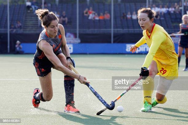 Marloes Keetels of Holland Women Yi Chen of China Women during the Rabobank 4Nations trophy match between Holland v China at the Hockeyclub Breda on...