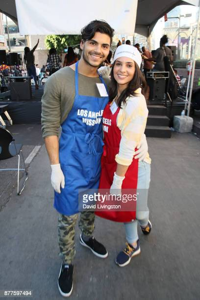 Marlon Aquino and Camila Banus are seen at the Los Angeles Mission Thanksgiving Meal for the homeless at the Los Angeles Mission on November 22 2017...