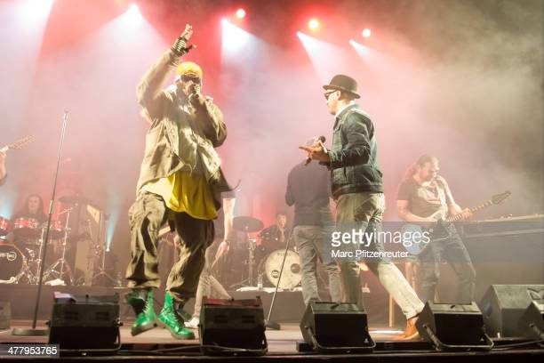 Marlon B and Tino Oac of German pop and soul band Soehne Mannheims perform during their 'Wer fuehlen will muss hoeren Tour' at the EWerk on March 11...