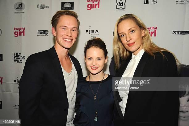 Marlon Boess Jana Naomi McKinnon and Lilian Klebow pose during the 'Beautiful Girl' Vienna premiere at UCI Kinowelt Millenium City on October 13 2015...