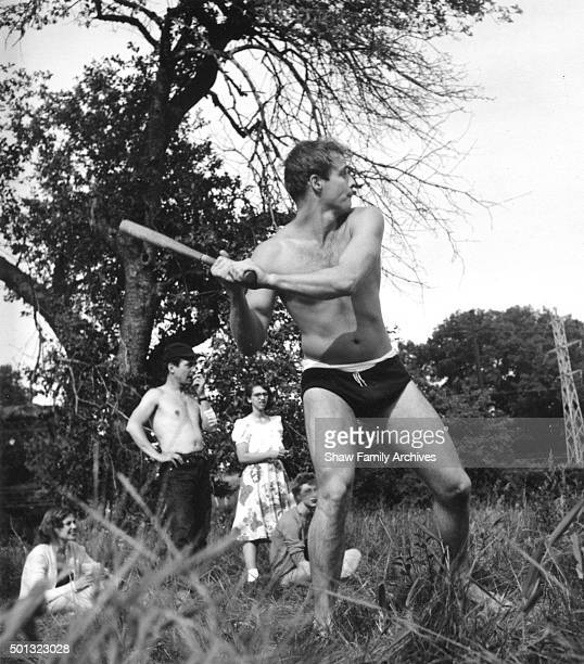 Marlon Brando and Eli Wallach play baseball at a picnic for The Actors Studio in 1953 in Connecticut