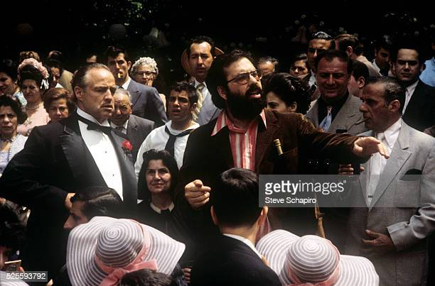 Marlon Brando and Francis Coppola during the filming of The Godfather Part II
