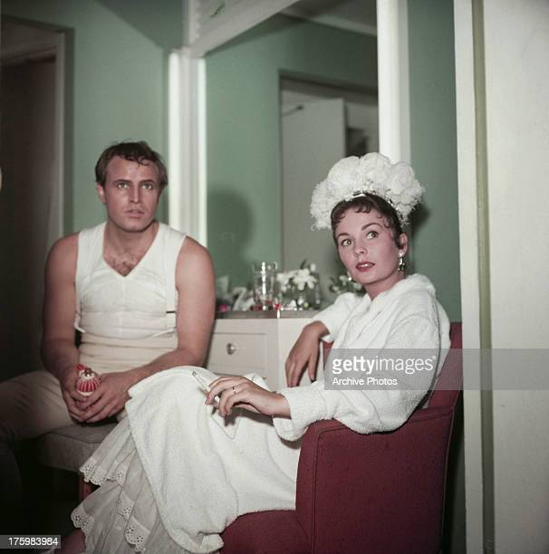 Marlon Brando and Jean Simmons in a dressing room during filming of 'Desiree' USA 1954 They play Napoleon Bonaparte and Desiree Clary in the film...