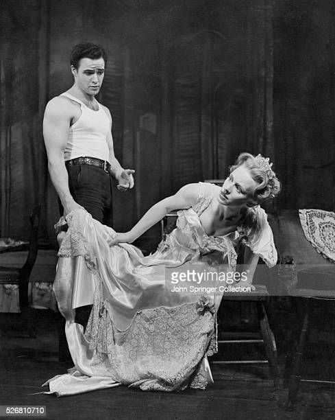 """Marlon Brando and Jessica Tandy act in """"A Streetcar Named Desire"""", 1947."""