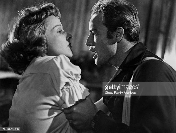 Marlon Brando and Kim Hunter in 1951 during the filming of ...