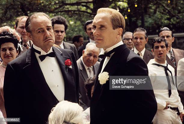 Marlon Brando and Robert Duvall during the wedding scene in The Godfather Part II