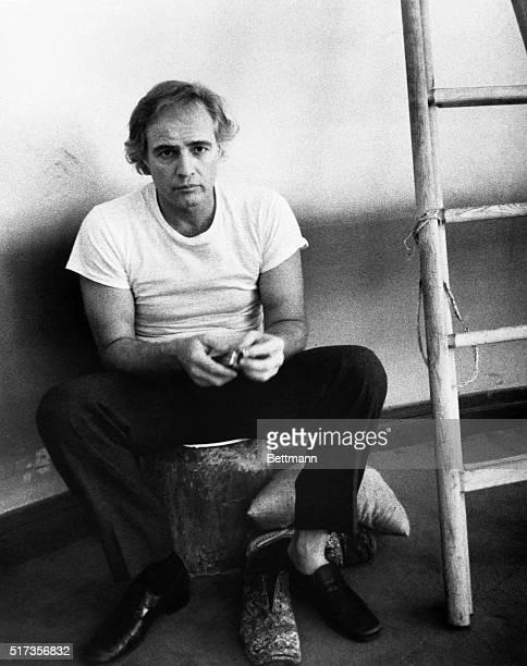 Marlon Brando appears on the set of the 1973 Bernardo Bertolucci film Last Tango in Paris.