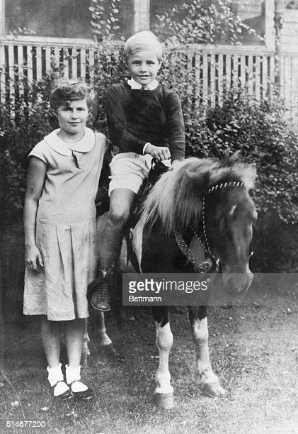Marlon Brando at age 6 with his sister Brando sits atop a shetland pony Undated photograph