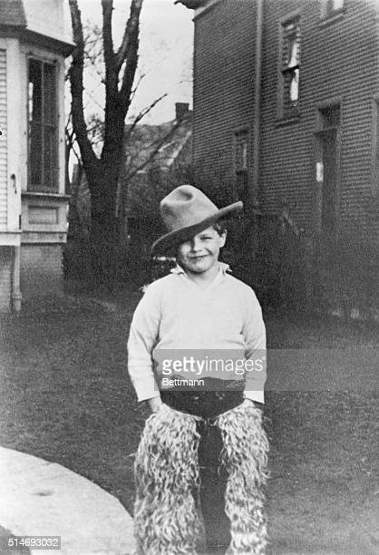 Marlon Brando at age 7 in cowboy suit. Photograph.