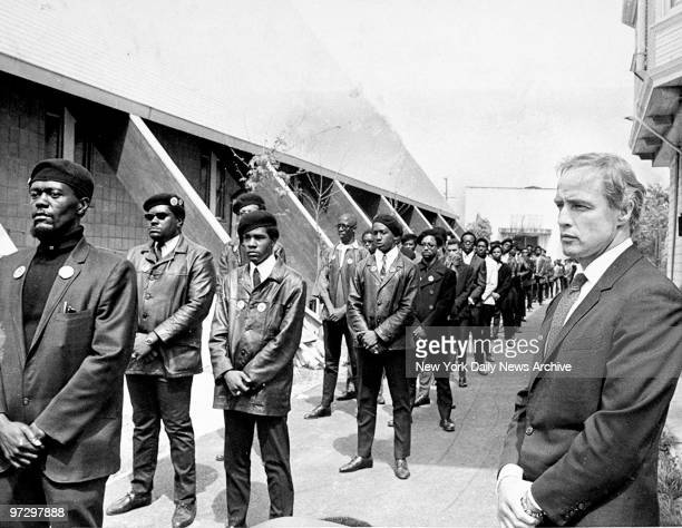 Marlon Brando attending the Black Panther Party rally held as a memorial for Bobby Hutton, a young Panther killed by police.