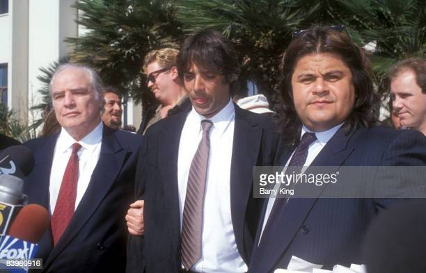 Marlon Brando, Christian Brando & Meeko Brando at the trial for his son Christian Brando at Santa Monica Courthouse in Santa Monica, California on...