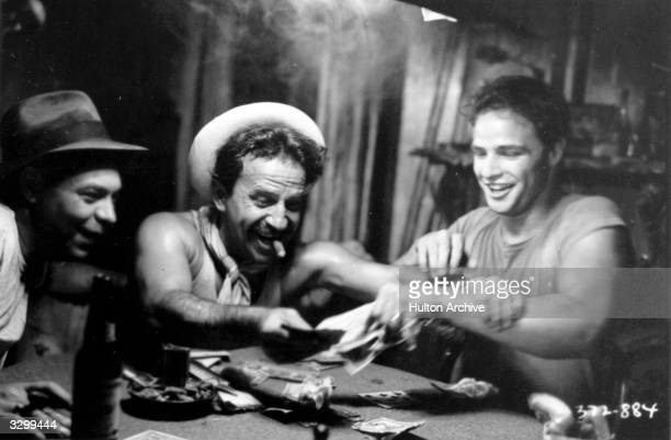 Marlon Brando gambles with Karl Malden in 'A Streetcar Named Desire', adapted from the play by Tennessee Williams and directed by Elia Kazan for...