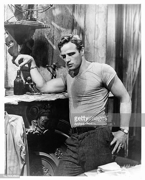 Marlon Brando in a scene from the film 'A Streetcar Named Desire', 1951.