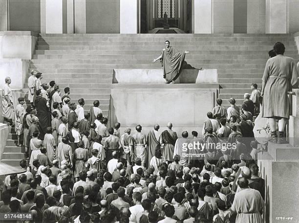 Marlon Brando plays Marc Anthony in MGM's 1953 film Julius Caesar directed by Joseph Mankiewicz