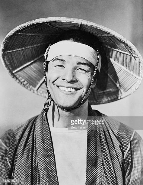 Marlon Brando wears the appropriate costume and smile for his role of Sakini in the film version of Teahouse of the August Moondirected by Daniel...