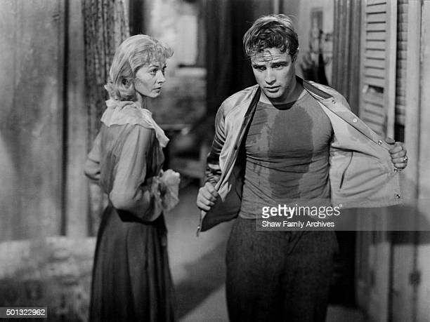 """Marlon Brando with Vivien Leigh in 1951 during the filming of """"A Streetcar Named Desire"""" in Los Angeles, California."""