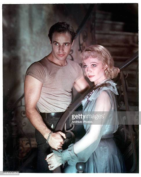 Marlon Brando with Vivien Leigh in a scene from the film 'A Streetcar Named Desire', 1951.