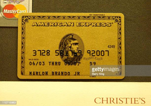 Marlon Brando's American Express card during Christie's and LA Confidential Magazine Host Highlights of the Personal Property of Marlon Brando at...
