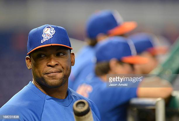 Marlon Byrd of the New York Mets looks on prior to a game against the Miami Marlins at Marlins Park on April 30 2013 in Miami Florida