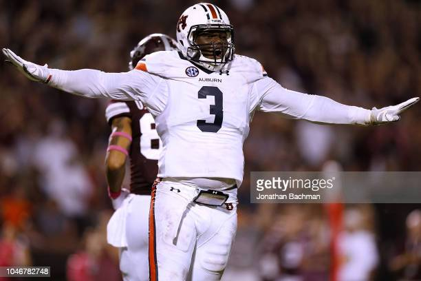 Marlon Davidson of the Auburn Tigers reacts during the first half against the Mississippi State Bulldogs at Davis Wade Stadium on October 6 2018 in...