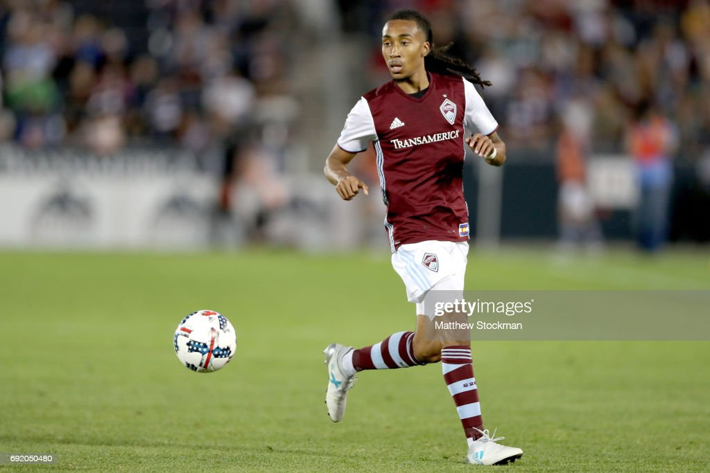 Marlon Hairston #94 of the Colorado Rapids advances the ball against the Columbus Crew SC at Dick's Sporting Goods Park on June 3, 2017 in Commerce City, Colorado.