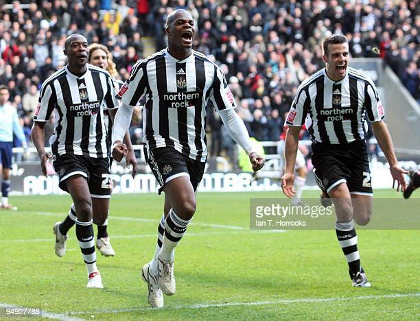 Marlon Harewood celebrates after scoring the opening goal during the Coca-Cola championship match between Newcastle United and Miiddlesbrough at St...