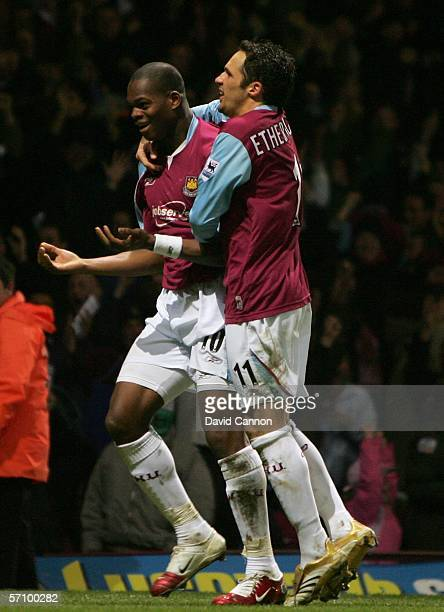Marlon Harewood of West Ham United celebrates scoring in extra time with team mate Matthew Etherington during the FA Cup Fifth Round Replay match...