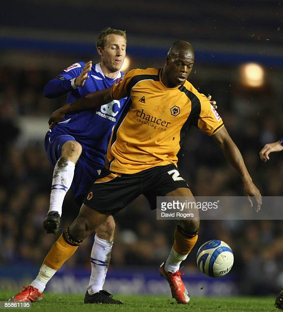 Marlon Harewood of Wolves is challenged by Lee Bowyer during the CocaCola Championship match between Birmingham City and Wolverhampton Wanderers at...