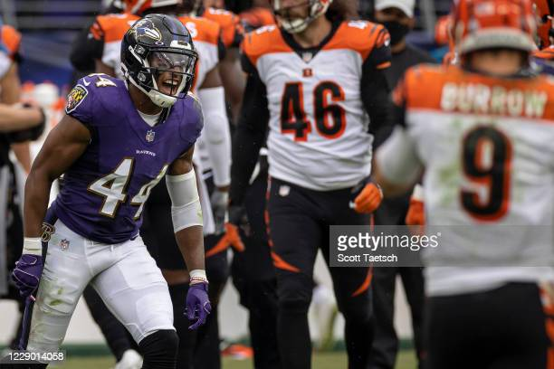 Marlon Humphrey of the Baltimore Ravens celebrates after a play against the Cincinnati Bengals during the first half at M&T Bank Stadium on October...