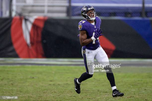 Marlon Humphrey of the Baltimore Ravens celebrates after a play against the Cincinnati Bengals during the second half at M&T Bank Stadium on October...