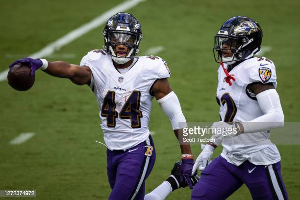 Marlon Humphrey of the Baltimore Ravens celebrates with DeShon Elliott after a turnover against the Cleveland Browns during the first half at M&T...