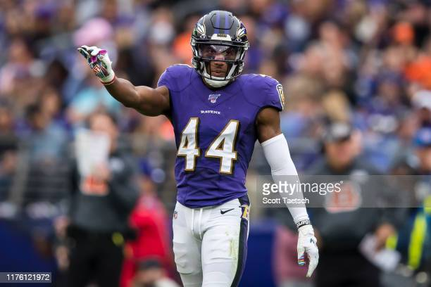 Marlon Humphrey of the Baltimore Ravens in action against the Cincinnati Bengals during the second half at M&T Bank Stadium on October 13, 2019 in...