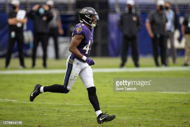 Marlon Humphrey of the Baltimore Ravens in action against the Cincinnati Bengals during the first half at M&T Bank Stadium on October 11, 2020 in...