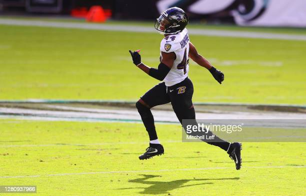 Marlon Humphrey of the Baltimore Ravens reacts after stopping the Philadelphia Eagles short on fourth down during the second quarter at Lincoln...