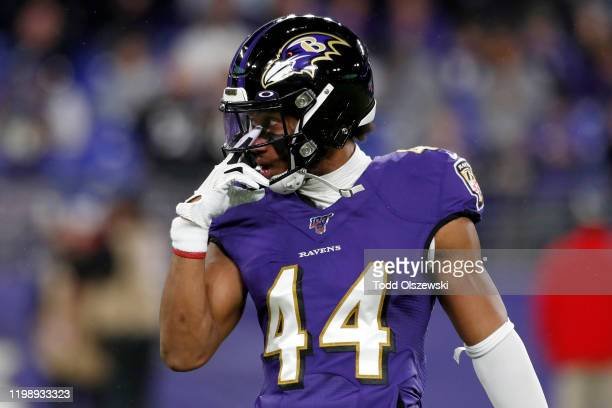 Marlon Humphrey of the Baltimore Ravens warms up before the AFC Divisional Playoff game against the Tennessee Titans at M&T Bank Stadium on January...