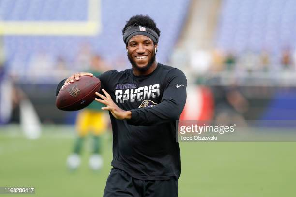 Marlon Humphrey of the Baltimore Ravens warms up prior to a preseason game against the Green Bay Packers at M&T Bank Stadium on August 15, 2019 in...