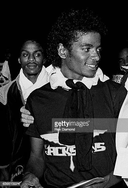 Marlon Jackson and Michael Jackson backstage during The Jacksons Triumph Tour at The Omni Coliseum in Atlanta Georgia July 22, 1981