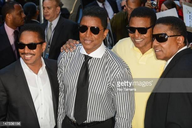 "Marlon Jackson, Jermaine Jackson, Jackie Jackson, and Tito Jackson leave the ""Good Morning America"" taping at the ABC Times Square Studios on June..."
