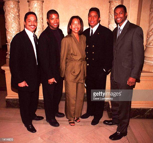 Marlon Jackson left John Coward Denise Bailey Jermaine Jackson and Chris Tucker at the MBC Network party at the Regal Biltmore in Los Angeles...