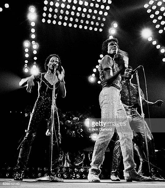 Marlon Jackson Michael Jackson and Jackie Jackson perform during The Jacksons Triumph Tour at The Omni Coliseum in Atlanta Georgia July 22 1981