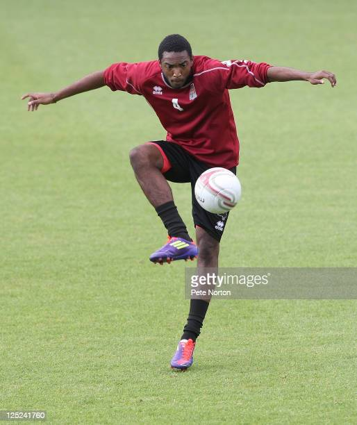 Marlon Jackson of Northampton Town in action during a training session at Sixfields Stadium on September 12 2011 in Northampton England