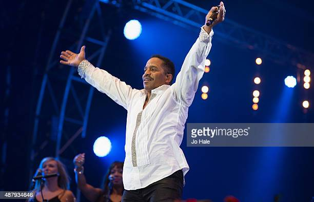 Marlon Jackson of The Jacksons performs on stage at BBC Proms in the Park at Hyde Park on September 12 2015 in London England