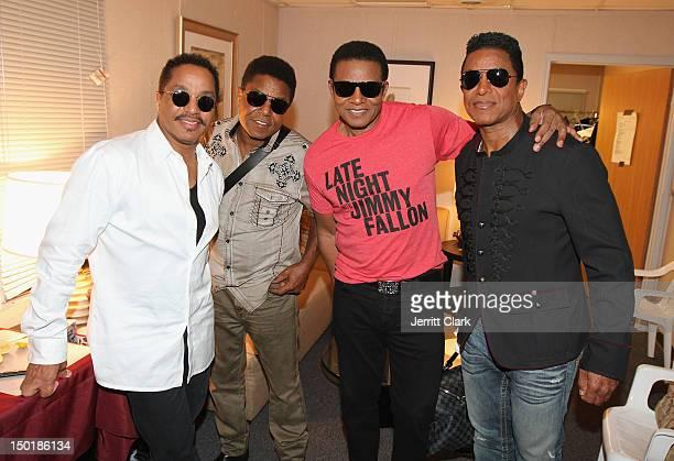 Marlon Jackson Tito Jackson Jackie Jackosnand Jermaine Jackson of The Jacksons pose backstage after their performance in Coney Island on August 11...