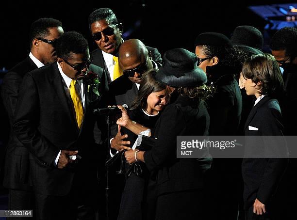 Marlon Jackson Tito Jackson Jermaine Jackson Randy Jackson Paris Katherine Jackson Rebbie Jackson Janet Jackson and Prince Michael Jackson gather...
