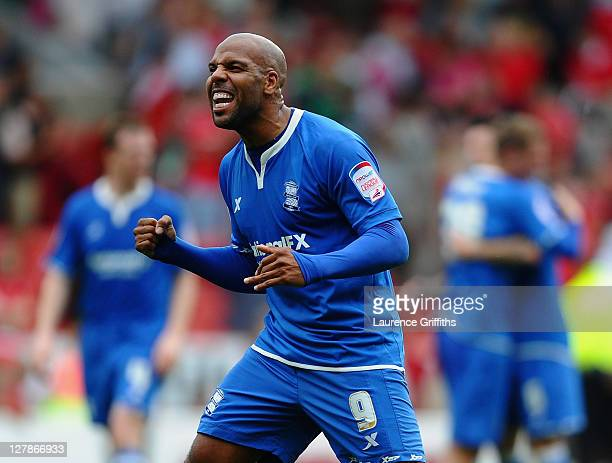Marlon King of Birmingham City celebrates during the npower Championship match between Nottingham Forest and Birmingham City at City Ground on...